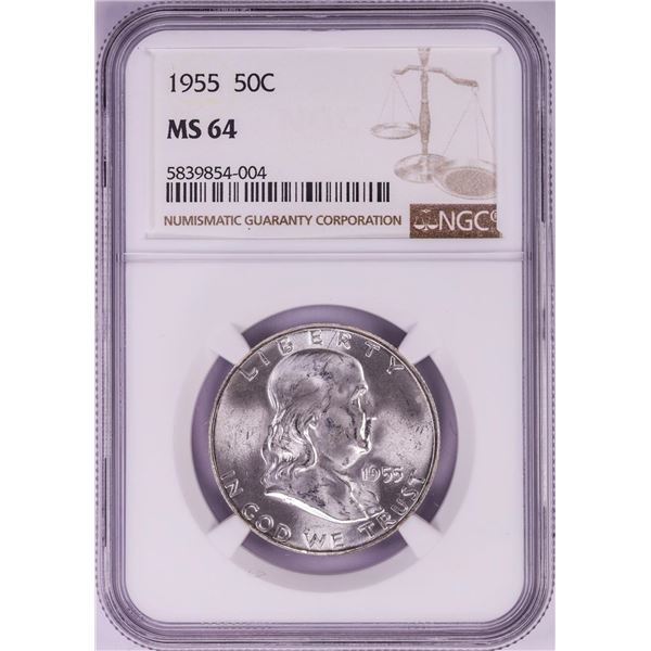 1955 Franklin Half Dollar Coin NGC MS64