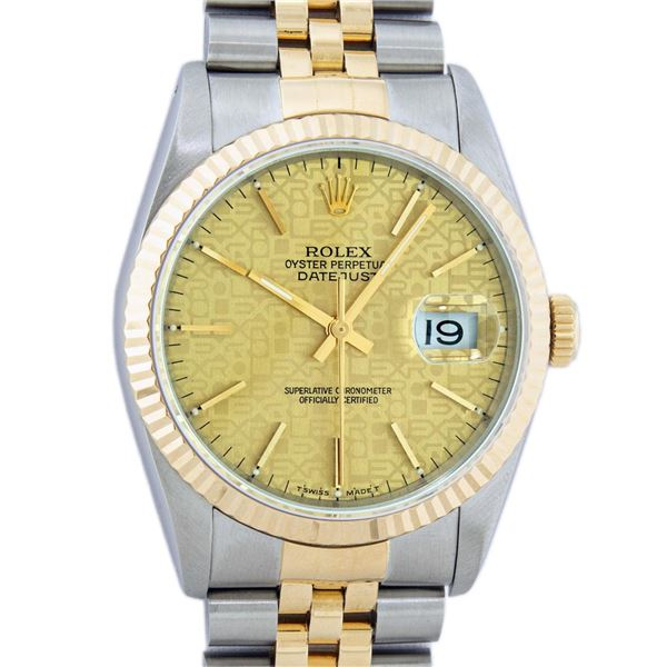 Rolex Mens Two Tone Rare Champagne Jubilee Index Oyster Perpetual Datejust Wristwatch