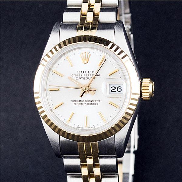 Rolex Ladies Two Tone White Index Datejust Wristwatch