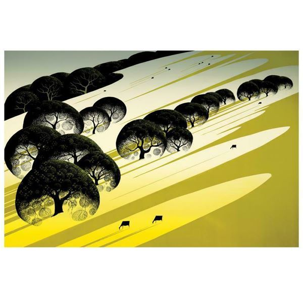 """Eyvind Earle (1916-2000) """"Cattle Country"""" Limited Edition Serigraph On Paper"""