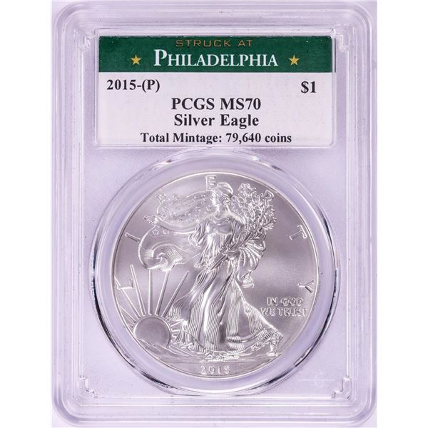 2015-(P) Struck at Philadelphia $1 American Silver Eagle Coin PCGS MS70