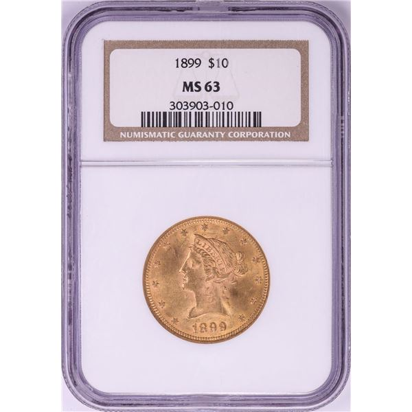 1899 $10 Liberty Head Eagle Gold Coin NGC MS63