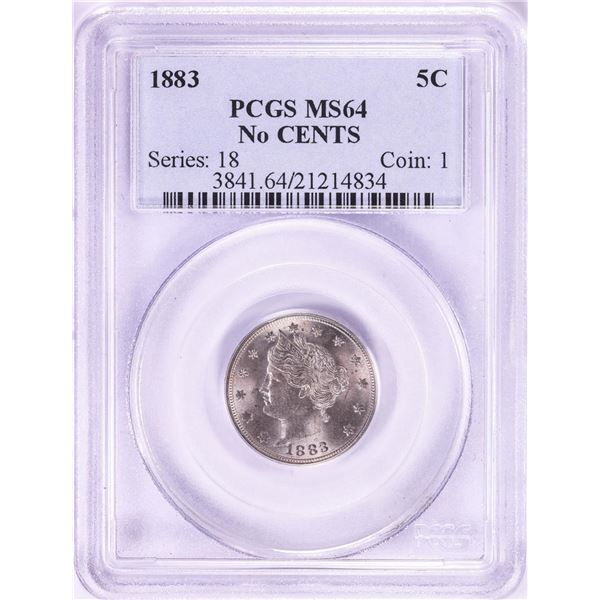 1883 No Cents Liberty V Nickel Coin PCGS MS64