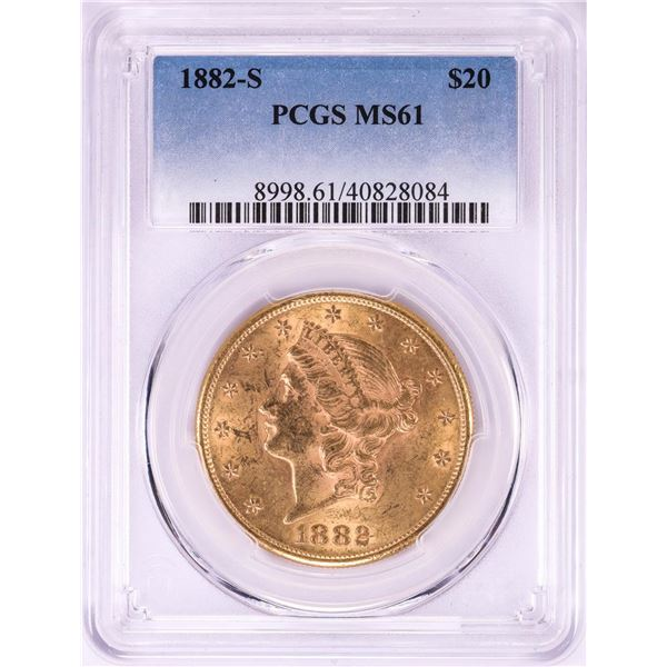 1882-S $20 Liberty Head Double Eagle Gold Coin PCGS MS61