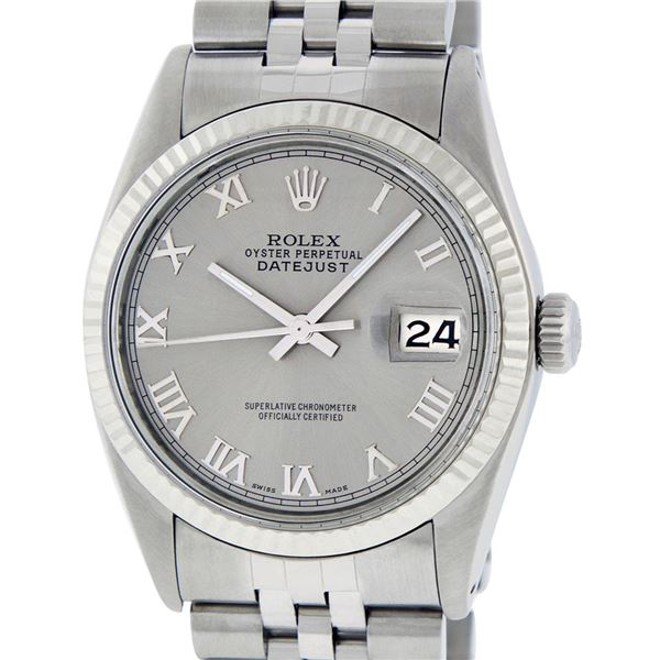 Rolex Mens Stainless Steel Slate Grey Roman Oyster Perpetual Datejust Wristwatch