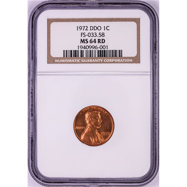 1972 Double Die Obverse Lincoln Memorial Cent Coin NGC MS64RD FS-033.58