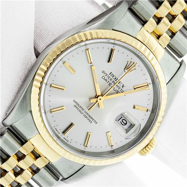 Rolex Mens Two Tone Silver Index Oyster Perpetual Datejust Wristwatch With Box