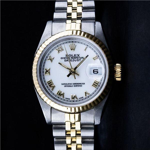 Rolex Ladies Two Tone White Roman Datejust Wristwatch