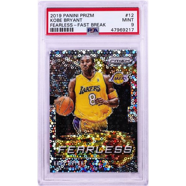 2019 Panini Prizm Fearless Fast Break Kobe Bryant NBA Card #12 PSA Mint 9