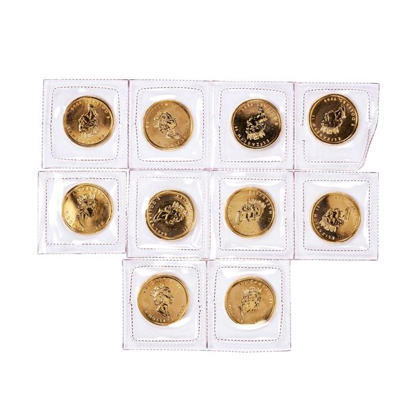 Lot of (10) Sealed 1999 Canadian $5 Maple Leaf Gold Coins