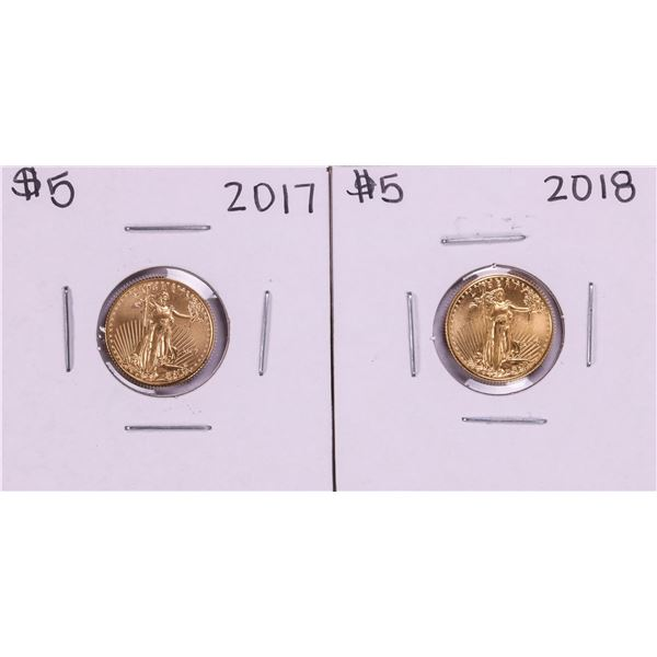 Lot of 2017-2018 $5 American Gold Eagle Coins