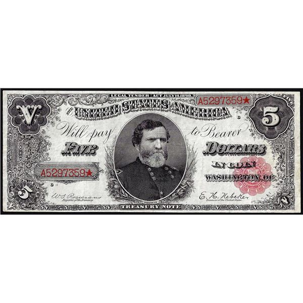 1890 $5 Ornate Back Treasury Note