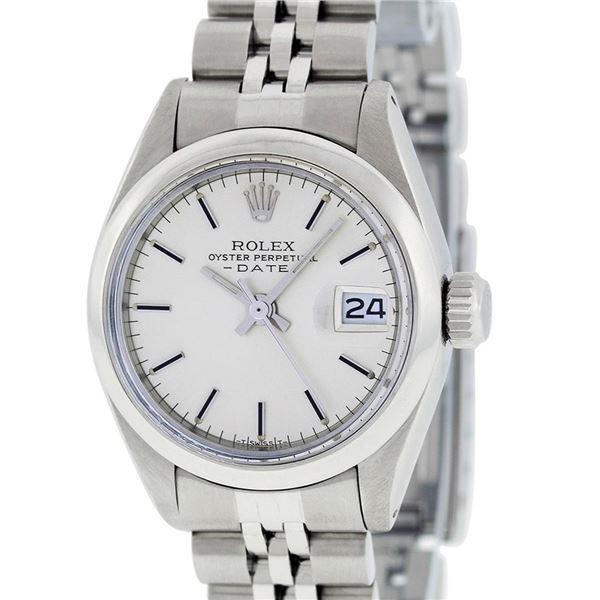 Rolex Ladies Stainless Steel Silver Index Datejust Wristwatch