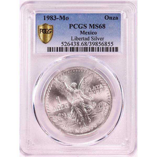 1983Mo Mexico 1 Onza Libertad Silver Coin NGC MS68