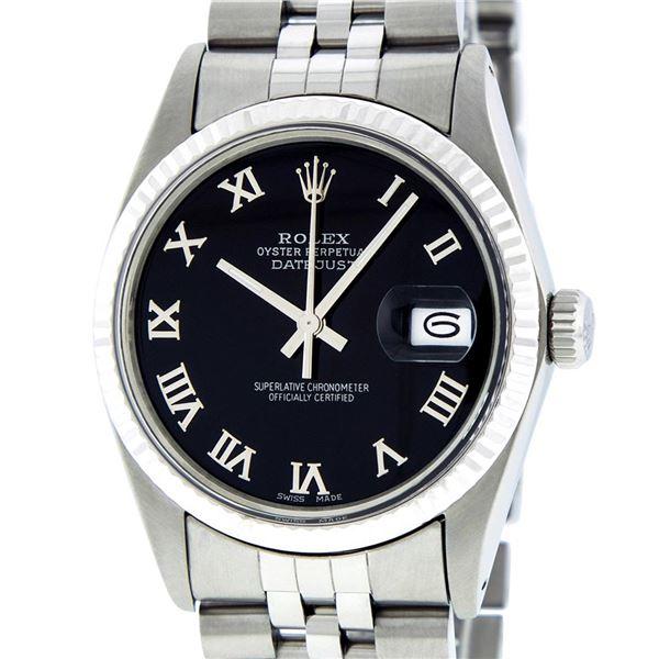 Rolex Mens Stainless Steel Black Roman Datejust Wriswatch Datejust