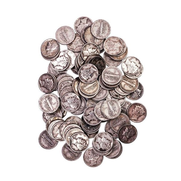 Lot of (100) Assorted Date Mercury Dime Coins