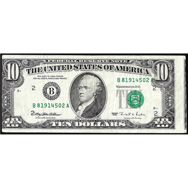 1995 $10 Federal Reserve Note Misaligned Face Printing Error