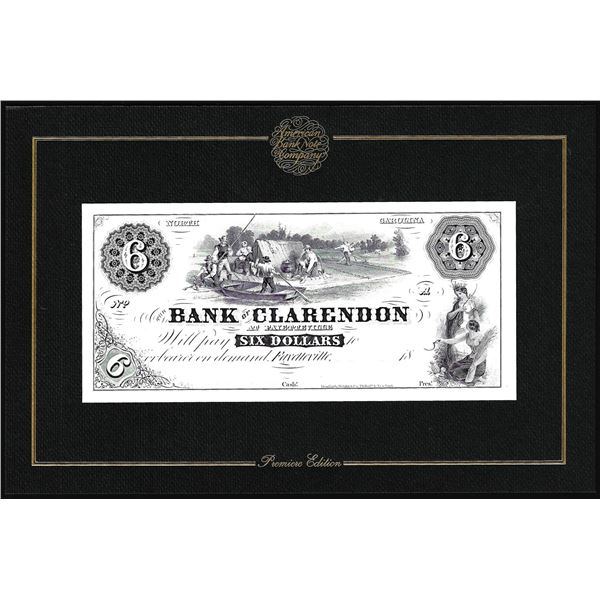 1994 American Bank Note Company Intaglio Print Bank of Clarendon at Fayetteville, NC