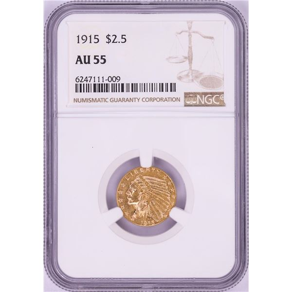 1915 $2 1/2 Indian Head Quarter Eagle Gold Coin NGC AU55