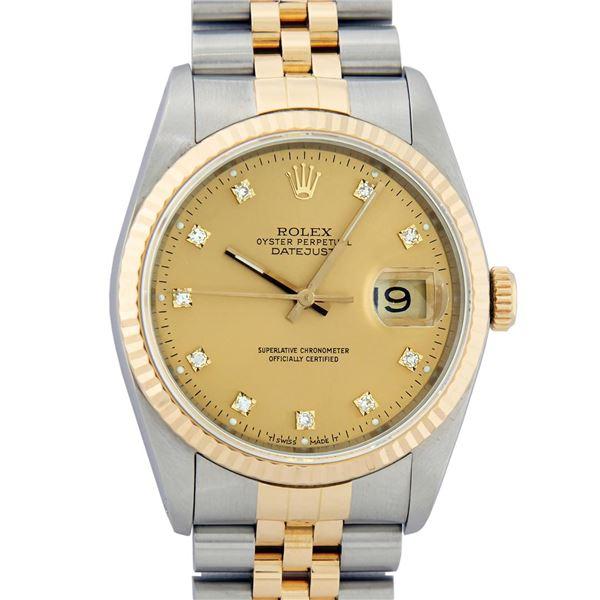 Rolex Mens Two Tone Factory Champagne Diamond Datejust Wristwatch