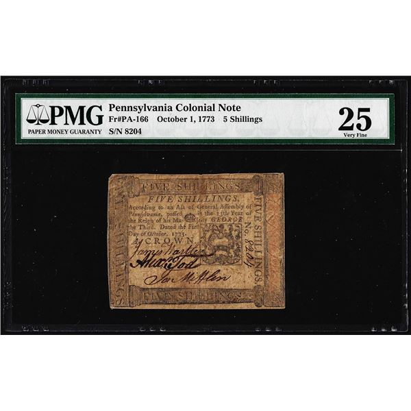 October 1, 1773 Pennsylvania 5 Shillings Colonial Currency Note PMG Very Fine 25