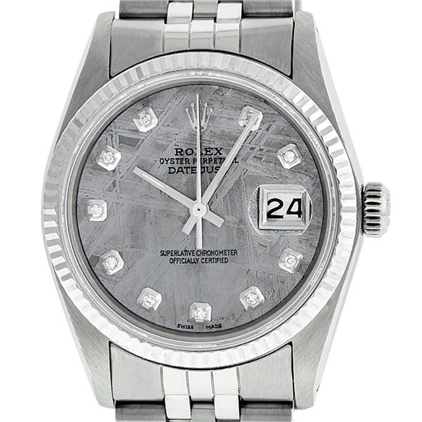 Rolex Mens Stainless Steel Meteorite Diamond Oyster Perpetual Datejust Wristwatch