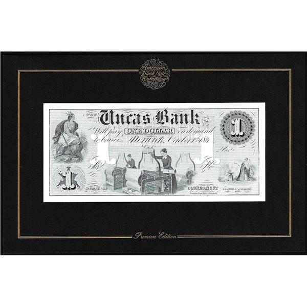 1994 American Bank Note Company Intaglio Print Uncas Bank Connecticut