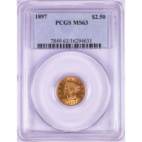 1897 $2 1/2 Liberty Head Quarter Eagle Gold Coin PCGS MS63