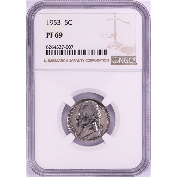 1953 Proof Jefferson Nickel Coin NGC PF69