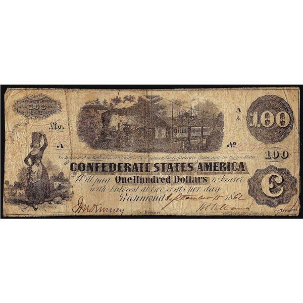 1862 $100 Confederate States of America Note T-39