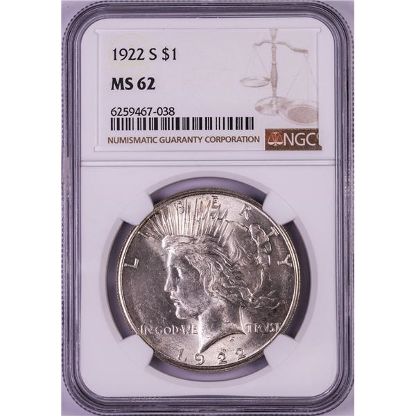 1922-S $1 Peace Silver Dollar Coin NGC MS62