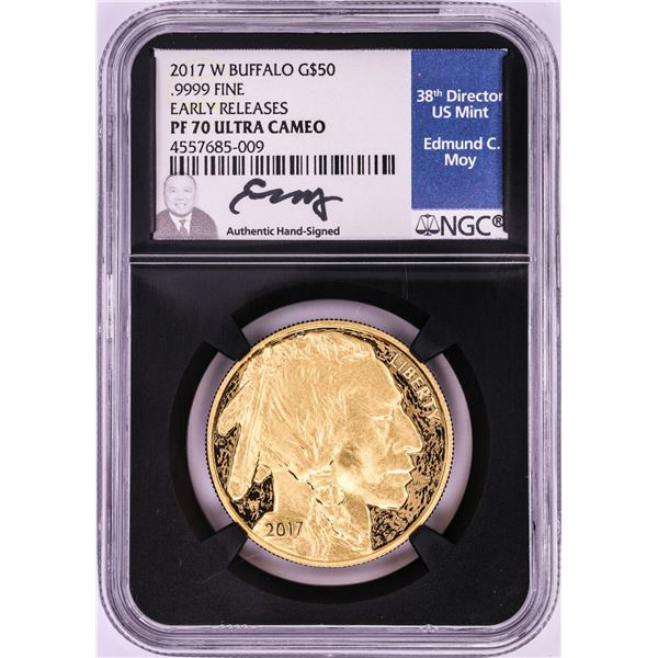 2017-W $50 Proof American Buffalo Gold Coin NGC PF70 Ultra Cameo Edmund Moy Signature