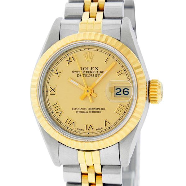 Rolex Ladies Two Tone Factory Champagne Roman Datejust Wristwatch