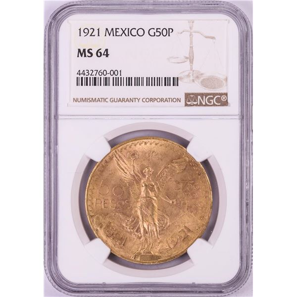 1921 Mexico 50 Pesos Gold Coin NGC MS64 Key Date