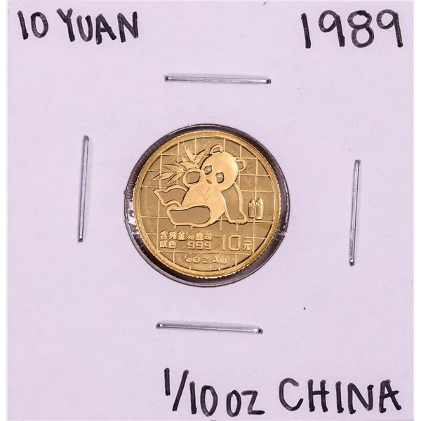 1989 China 10 Yuan 1/10 oz. Panda Gold Coin