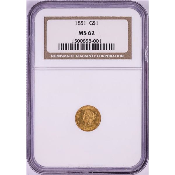 1851 Type 1 $1 Liberty Head Gold Dollar Coin NGC MS62