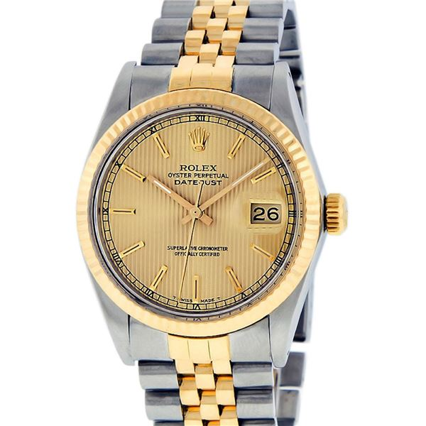 Rolex Mens Two Tone Champagne Tapestry Index Datejust Oyster Perpetual Wristwatch