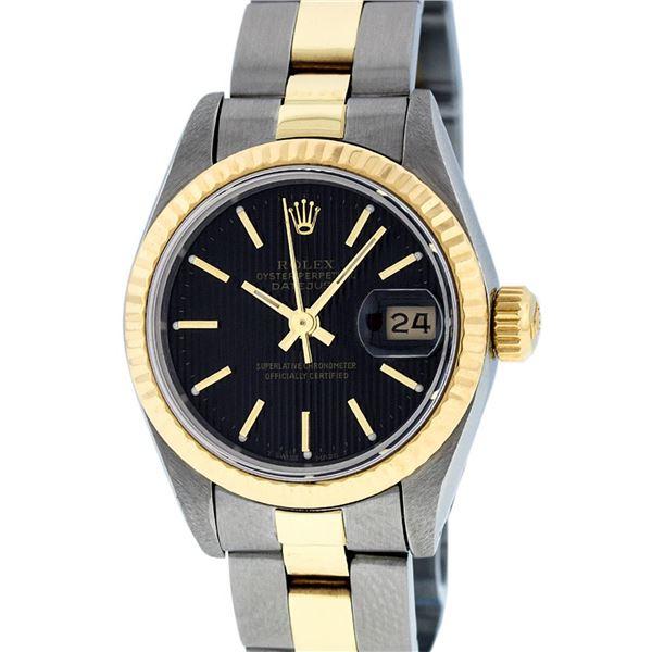 Rolex Ladies Two Tone Black Tapestry Index Datejust Wristwatch