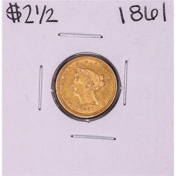 1861 New Reverse $2 1/2 Liberty Head Quarter Eagle Gold Coin