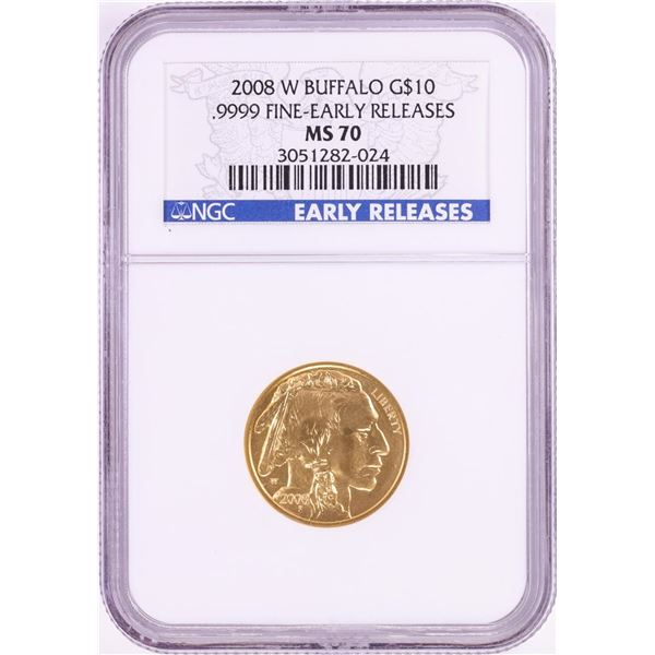 2008-W $10 American Buffalo Gold Coin NGC MS70 Early Releases