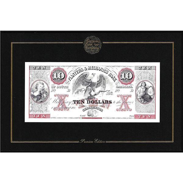 1994 ABN Co. Intaglio Print Planters & Mechanics Bank Charleston, SC