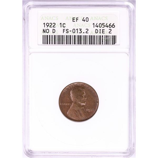 1922 No D Lincoln Wheat Cent Coin ANACS EF40 FS-013.2 Die 2