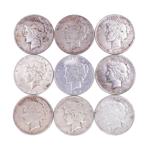 Lot of (9) 1927-D $1 Peace Silver Dollar Coins