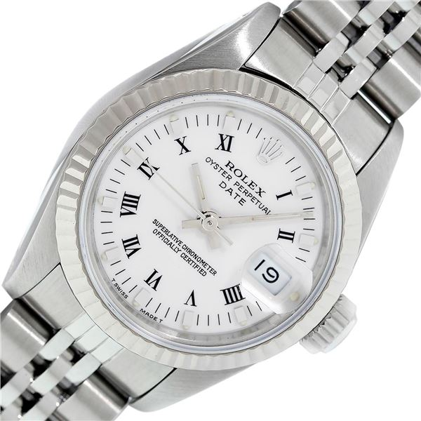Rolex Stainless Steel White Roman Oyster Perpetual Datejust Wristwatch