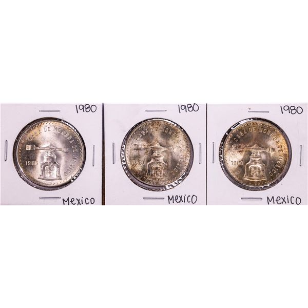 Lot of (3) 1980 Mexico Onza Silver Coins