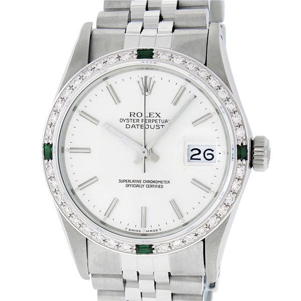 Rolex Mens Stainless Steel Silver Index Diamond Datejust Wristwatch