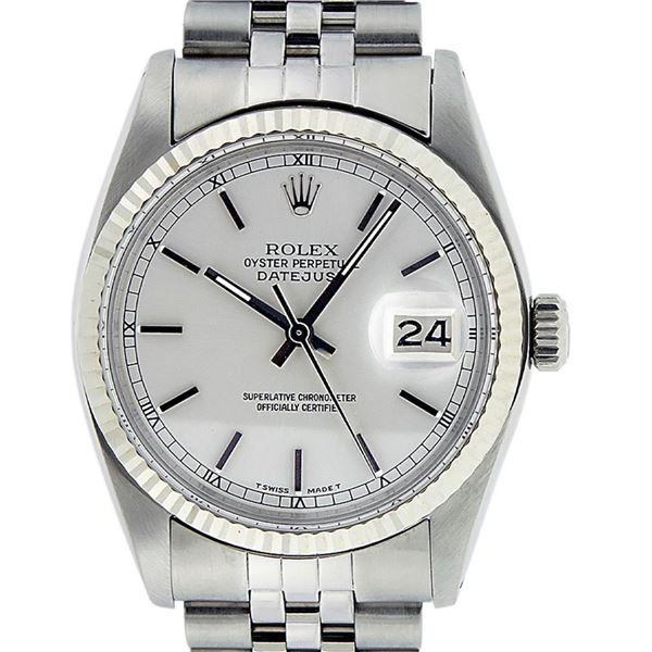 Rolex Mens Stainless Steel Silver Index Fluted Bezel Datejust Wristwatch