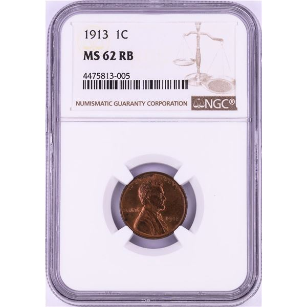 1913 Lincoln Wheat Cent Coin NGC MS62RB