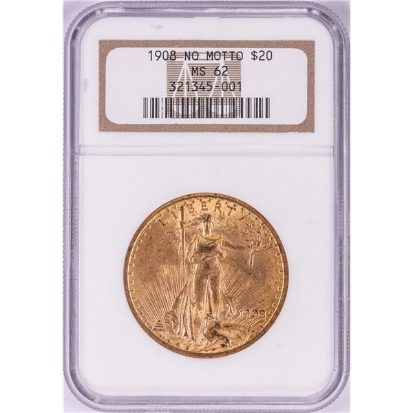 1908 No Motto $20 St Gaudens Double Eagle Gold Coin NGC MS62