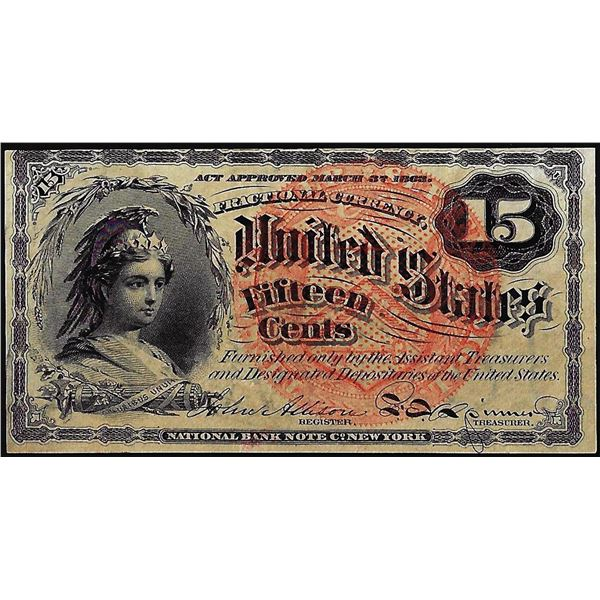 March 3, 1863 Fourth Issue Fifteen Cents Fractional Currency Note